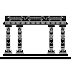 American Indian temple columns with ritual masks vector
