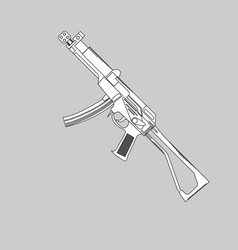 Automatic firearms pistol rifle machine gun in vector