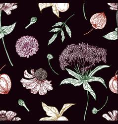 autumn botanical floral seamless pattern vector image
