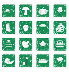 Autumn icons set grunge vector