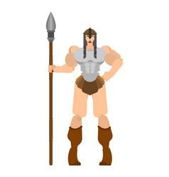 Barbarian woman lady viking strong female warrior vector