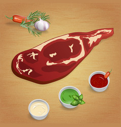beef with delicious sauces and spices vector image