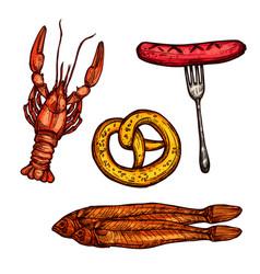 beer snack food sketch sausage pretzel fish vector image