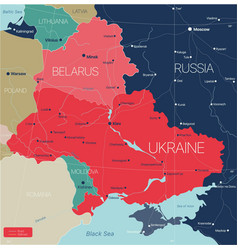 belarus and ukraine countries detailed editable vector image