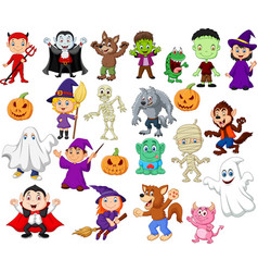 Big collections of halloween cartoon vector