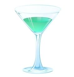 Blue tipple cocktail in glass goblet on stem vector