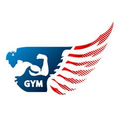 Bodybuilder and wing symbol vector