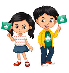 boy and girl holding flag of macau vector image