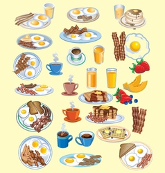 BREAKFAST AND FOOD ICONS SET vector