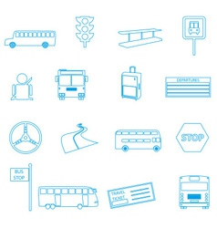 bus transport simple outline icons set eps10 vector image