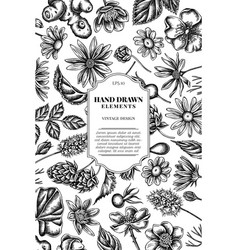 Card design with black and white celandine vector