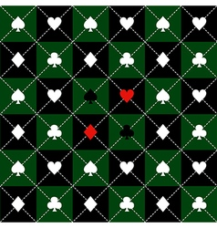 Card suits green black chess board diamond vector