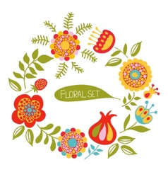 card with a floral wreath vector image