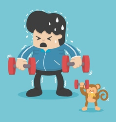 cartoon exercise reducing weight by lifting a doom vector image