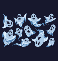 cartoon ghost halloween night holiday characters vector image
