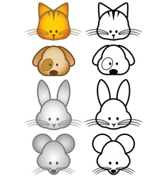 Cartoon pet animals set vector