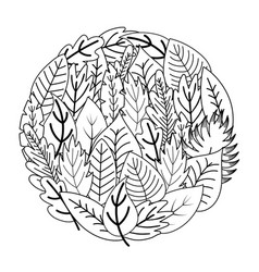 circle shape coloring page with doodle leaves vector image