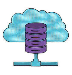 Cloud and network server storage icon in color vector