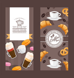 Coffee house vertical banners cafe menu cover vector