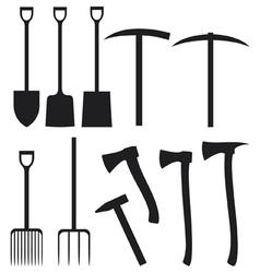 Collection garden instruments silhouettes vector