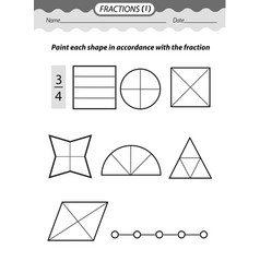 Coloring book color fractions vector