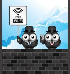Comical free wifi vector