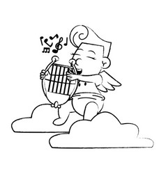 cupid on cloud with harp sketch vector image