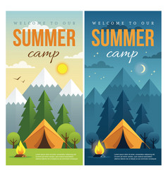 Day and night summer camp banners vector