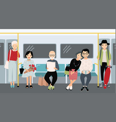 different people at subway trendy young girls and vector image