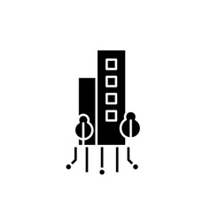 digital city black icon sign on isolated vector image