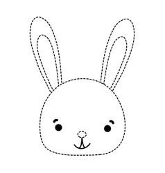 Dotted shape smile rabbit head wild animal vector