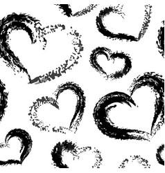 dry brush valentine hearts pattern black on vector image