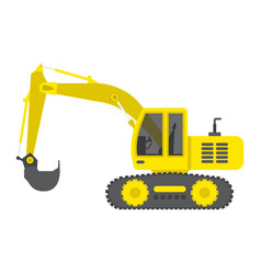 excavator flat icon transport and vehicle digger vector image