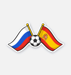 flags russia and spain with soccer ball vector image