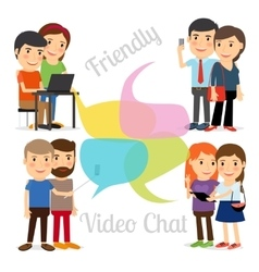Friendly video chat vector