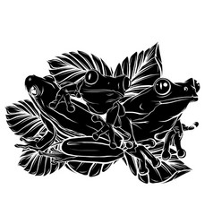 frogs silhouettes collection vector image
