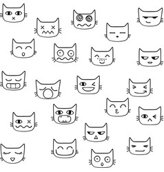 Funny cute cat face kawaii outline vector