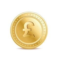 golden pound sterling coin on white background vector image