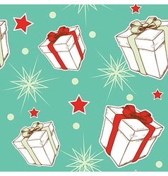 green seamless pattern with Christmas gifts vector image
