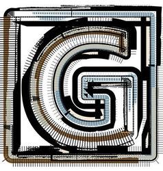 Grunge Font LETTER G vector