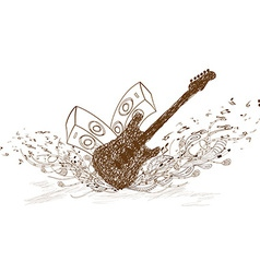 Guitar art music vector