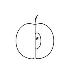 Half apple icon in black flat outline design vector