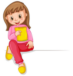 Happy girl with bag of snack vector