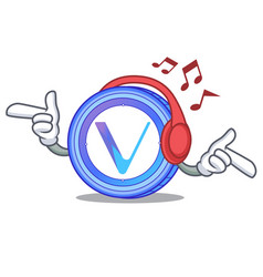 listening music vechain coin mascot cartoon vector image