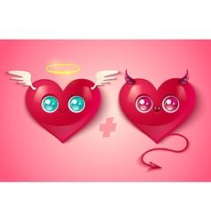 Love hearts kawaii vector