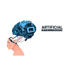 Male head with modern cyborg brain isolated on vector