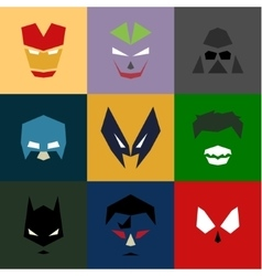 Masks into flat style graphics art vector image