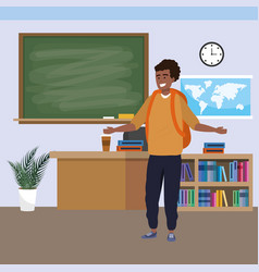 Millennial student indoors classroom vector