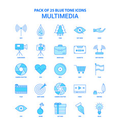Multimedia blue tone icon pack - 25 icon sets vector