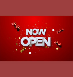 now open white sign on red background vector image